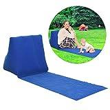 Soundwinds Tragbare Strandmatte aufblasbare Sonnenliege Strandbett Klappbar Gartenbett Dreiecks-Sonnenbadematte Rückenkissen Kissen Stuhl für Picknick Camping, blau