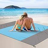 FYLINA Stranddecke Picknickdecke Übergroße Nylon-Strandmatte mit Anker im Freien