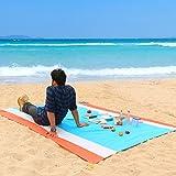 WolfWise 270x210 cm XXL Stranddecke, Wasserabweisende Picknickdecke Campingdecke Strandtuch, aus Weiches Nylon mit Tasche und 4 Pfähle, Sandabweisend Maschinenwaschbar