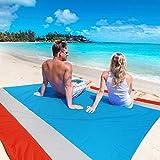 WolfWise 210 x 270 cm XXL Stranddecke, Sandfreie Picknickdecke Campingdecke Strandtuch, aus Weiches Nylon mit Tasche und 4 Pfähle, Wasserdicht, Schnell trocknend, Ultraleicht, Tragbar